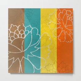 Chinese Flowers & Stripes - Orange Yellow Turquoise Brown Metal Print