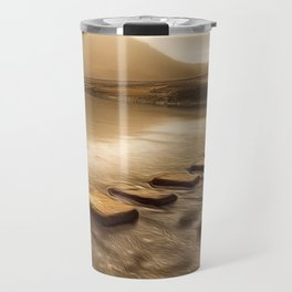 Stepping stones with oil painting effect Travel Mug