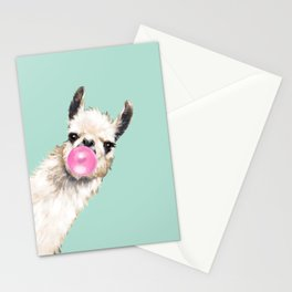 Bubble Gum Sneaky Llama in Green Stationery Cards