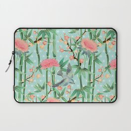 Bamboo, Birds and Blossom - soft blue green Laptop Sleeve