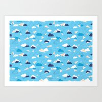 airplanes Art Prints featuring Paper Airplanes by Polita