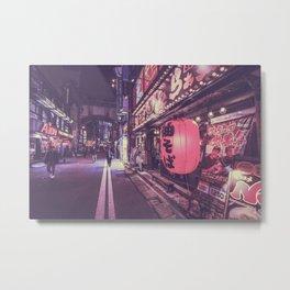 Shop in tokyo night street Metal Print