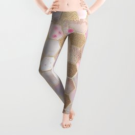 Hexagonal Honeycomb Marble Rose Gold Leggings