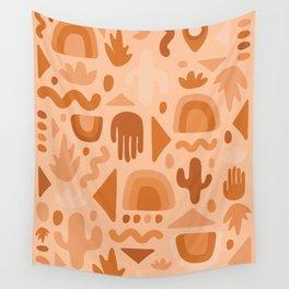 Orange Cutout Print Wall Tapestry