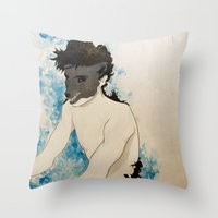 beast Throw Pillows featuring Beast by Cat Rocketship