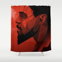 django Shower Curtains featuring Django Low Poly | Alternative poster by Lorenzo Imperato