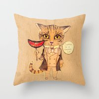 cheshire cat Throw Pillows featuring Cheshire Cat by baba yagada