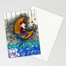 Mermaid in the moon Stationery Cards