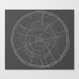 Tree rings grey Canvas Print