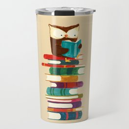 Owl Reading Rainbow Travel Mug
