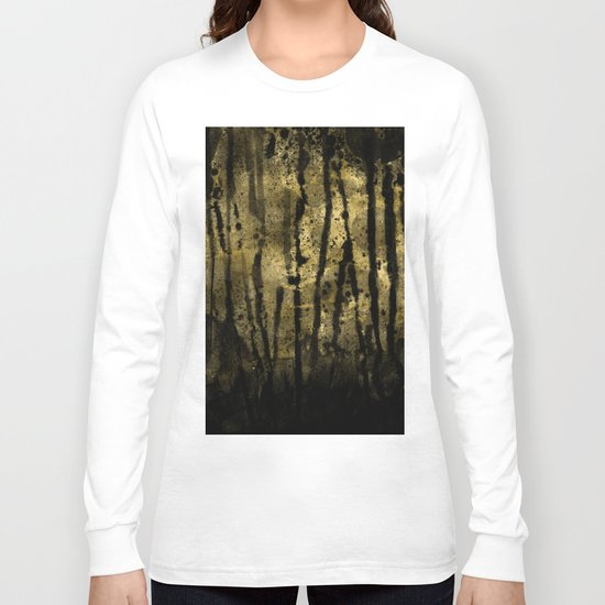 Black and Gold grunge modern abstract ink backround Long Sleeve T-shirt