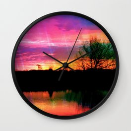Watercolor January Texas Sunrise Wall Clock