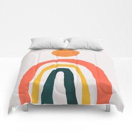 Sunrise over rainbow hill Comforters