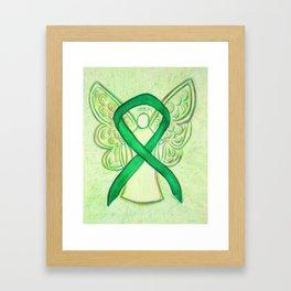 Green Awareness Ribbon Angel Art Painting Framed Art Print