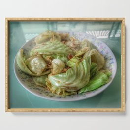 Stir-fry homemade organic Cabbage with chili pepper and garlic in oyster sauce. Serving Tray