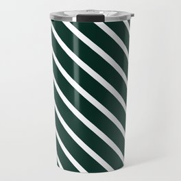 Deep Forest Diagonal Stripes Travel Mug