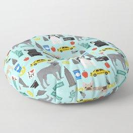 French Bulldog new york city tourist big apple dog breed pet friendly designs Floor Pillow