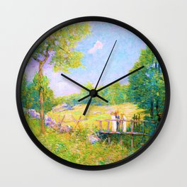 Julian Alden Weir - The Fishing Party - Digital Remastered Edition Wall Clock