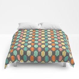 Midcentury Hexagon Argyle on Grey Comforters
