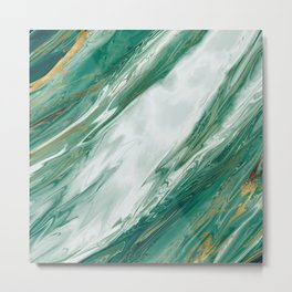 Emerald Jade Green Gold Accented Painted Marble Metal Print