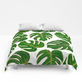 Modern hand painted green faux gold monster leaves Comforters