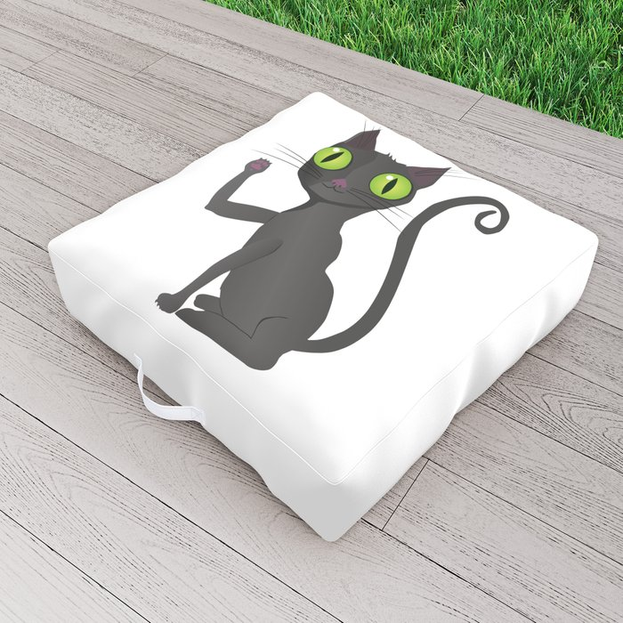 Black cat vector Outdoor Floor Cushion