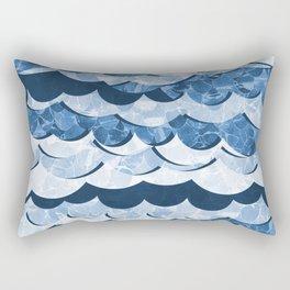 Abstract Blue Sea Waves Design Rectangular Pillow