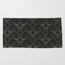 Stegosaurus Lace - Black / Grey Beach Towel