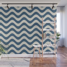 Blue & Linen White Wavy Line Pattern Pairs To 2020 Color of the Year Chinese Porcelain Wall Mural