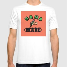 hand made Mens Fitted Tee MEDIUM White