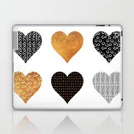 Gold, black, white hearts Laptop & iPad Skin