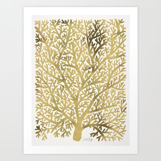Gold Fan Coral Art Print