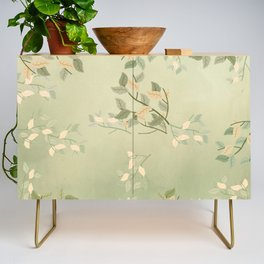 Sage Green Watercolor Woodland Leaves Credenza