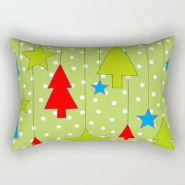 Christmas Trees and Stars Print with Polka Dot Background Rectangular Pillow