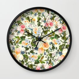 Country chic ivory forest green orange pink watercolor floral Wall Clock