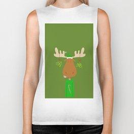 Merry Christmoose - Christmas Mistletoe Moose Biker Tank