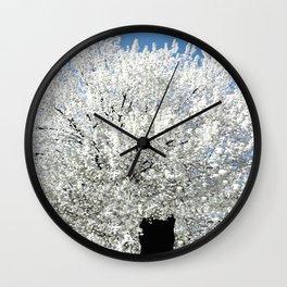Trees Snow White Wall Clock