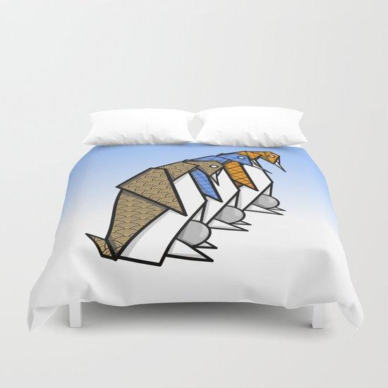 Origami Penguins Duvet Cover