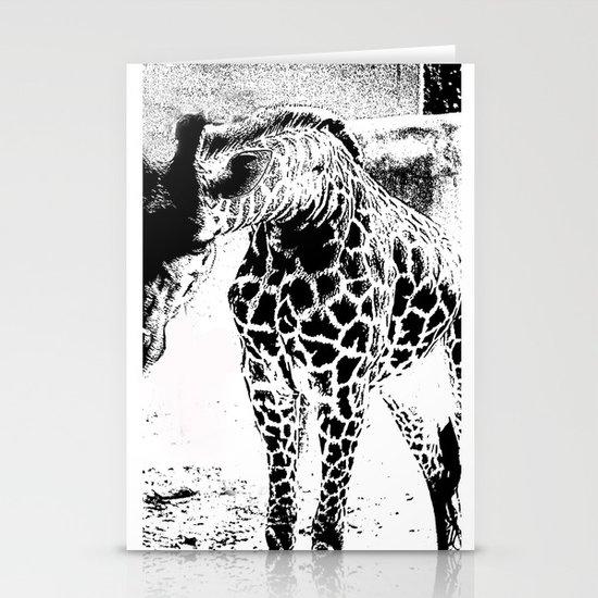 Black n White Giraffe Stationery Cards