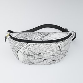 New York City Map United States White and Black Fanny Pack