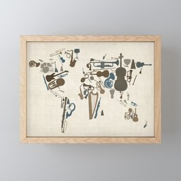Musical Instruments Map of the World Framed Mini Art Print