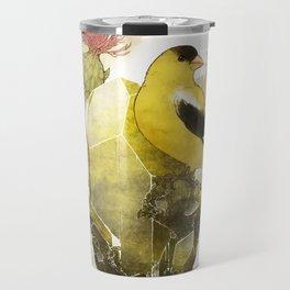 Goldfinch Bird and Anglesite Crystals Travel Mug