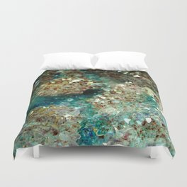 SPARKLING GOLD AND TURQUOISE CRYSTAL Duvet Cover
