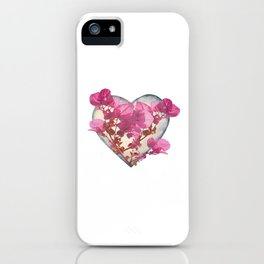 Heart Shaped with Flowers Digital Collage iPhone Case