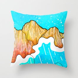 The cliff and the sea's waves Throw Pillow