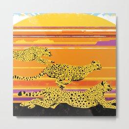 Cheetah Sunset Metal Print