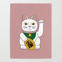 Maneki Neko - lucky cat - pink Poster