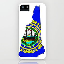 New Hampshire Map with State Flag iPhone Case