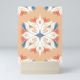 Floral hexagons geometric pattern Mini Art Print