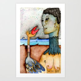 Woman with bird in the ocean at nigth Art Print
